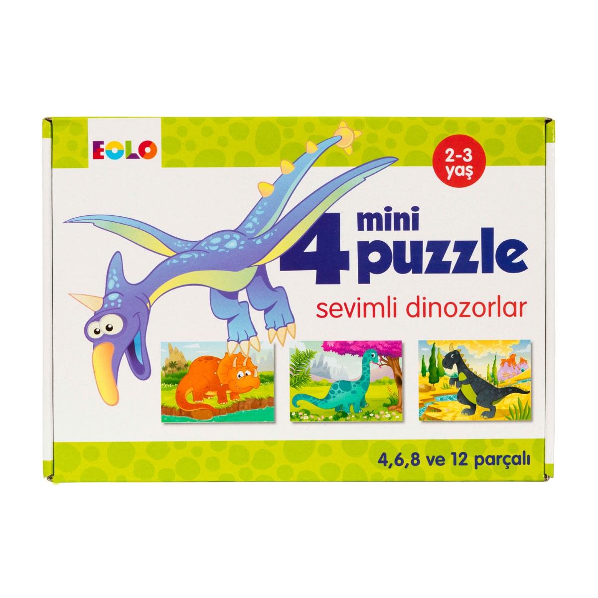 4 Mini Puzzle - Sevimli Dinozorlar